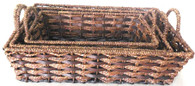 Largest in S/3 Rectangular seagrass & chipwood baskets with handles