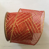 "Organza Red Glitter wired ribbon 25 yard/roll - 2.5"" wide"