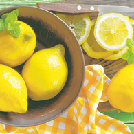 "Lunch napkins - Lemons in a bowl 6.5""x6.5"""