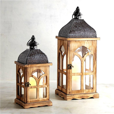 "S/2 Vintage wood, glass and iron lanterns Small: 8""x8""x16.5""H, Large:11""x11""x24""H"