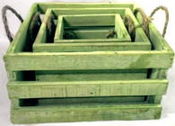 "S/3 Green square crates  L: 7.5""x7.5""x4.""H M: 6""x6""x3.5""H S: 4.25""x4.25""x3.25""H"