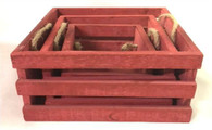 "S/3 Red square crates with jute handles (min 2, 18/cs)  L: 7.5""x7.5""x4.""H M: 6""x6""x3.5""H S: 4.25""x4.25""x3.25""H"