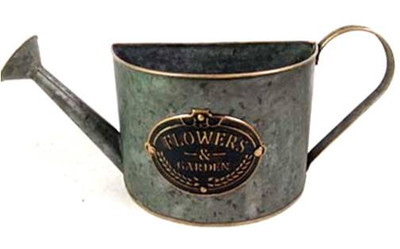 """Watering-can-shaped metal planter  15""""x4""""x6.25""""H"""