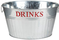 "Galvanized oval bucket with handles embossed ""DRINKS"" 20""x15""x11""H"