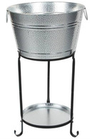 "Galvanized round party tub with stand and round tray - Tub: 16""Dx9""H. Stand 46""H"