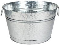 "Galvanized round embossed design party tub with handles  16""Dx9""H"