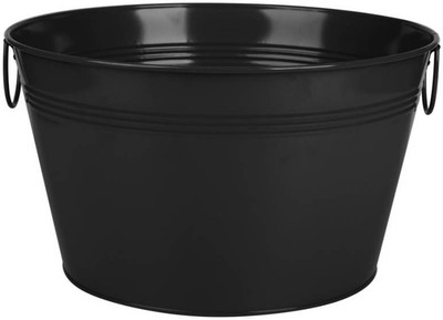 """Galvanized round black metal party tub with handles  16""""Dx9""""H"""