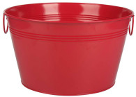 "Galvanized round red bucket with handles 16""Dx9""H"
