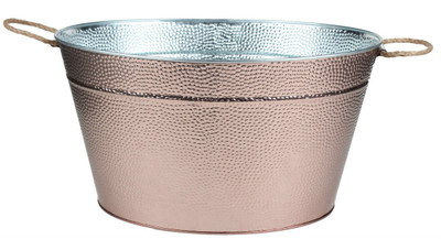 "Galvanized oval party tub in a metallic finish with jute handles 18""x12.5""x10""H"