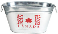 "Galvanized oval party tub with handles and Canada Flag 20""x12""x10""H"