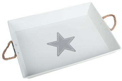 """Galvanized rectangular white tray with jute handles 17""""x13""""x2.75""""H"""