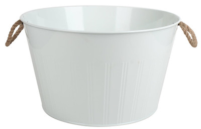 "Galvanized round white party tub with jute handles 16""Dx9""H"