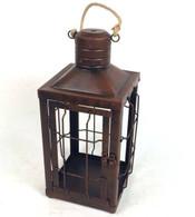"Vintage iron lantern with jute hanger 7""x7""x13""H"