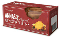 "Annas Ginger Thins 150 gr., 12/cs Apex Elegance is proud to introduce a new brand of ginger cookies, "" Anna's Thins "" originally made by Anna Karlsson, Swedish housewife in the 1920's, baked ginger cookies at Christmas from a recipe handed down from her mother. Her cookies became so popular that Anna and her sister started baking them year-round. In 1929 they opened a small bakery in Stockholm, Sweden. Ever since, Anna's has been a magical journey supplying cookies to Europe and North America for nearly a century."