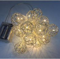 "20 warm white LED light garland - METAL BALLS, approx 2 m (78"") long (3 AA batteries not included)"