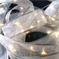 "20 warm white LED light garland - WIRED WHITE RIBBON, approx 2 m (78"") long (3 AA batteries not included) - Ideal for a unique BOW"