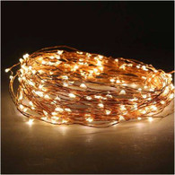 200 warm white LED light garland , approx 20 m long (6 AA batteries not included)