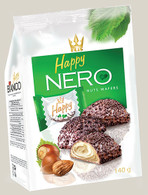 Chocolate coated wafers with hazelnut flavored filling & chocolate flakes 140 gr., 12/cs  FLIS Happy Nero