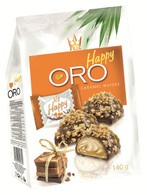 Chocolate coated wafers with caramel cream & caramel flakes 140 gr., 10/cs  FLIS Happy oro