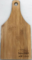 "Bamboo cutting board with ""Seasoned with Love"" engraved 5.5""x0.4""x11"""