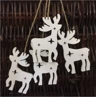 """White wooden hanging reindeer 4""""H (4 reindeer/bundle)"""