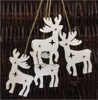 "Bundle of white wooden hanging reindeer 4""H (4 reindeer/bundle)"