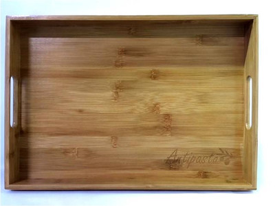 "Bamboo tray with ""Antipasto"" engraved 19""x14""x2""H"