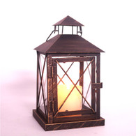 "Copper tone iron and glass lantern 6""x6""x11""H"
