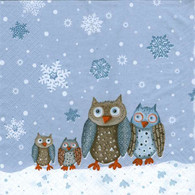 "Lunch napkins - Owls in the Snow 6.5""x6.5"""