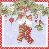"Lunch Napkins - Stockings 6.5""x6.5"""