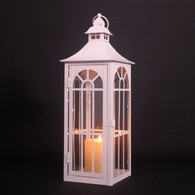 "CL139S18W """" White metal & glass lantern 6""x6""x18""H (min 2)"