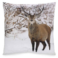 "Deer in the snow sued cushion 17""x17"""