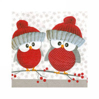 "Cocktail napkins - Red holiday owls  5""x 5"""