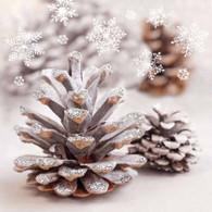 "Silver trim pine cones 6.5""x 6.5"""