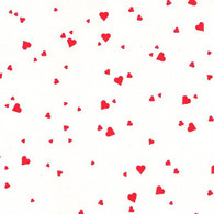 "Red Hearts Printed Cellophane roll on clear 40""x100'"