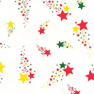 """Multiple Colour stars printed Cellophane roll 40""""x100'"""