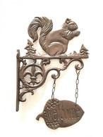 "Cast iron Squirrel hook with hanging Welcome acorn 8""x1.5""x12""H (min 2)"