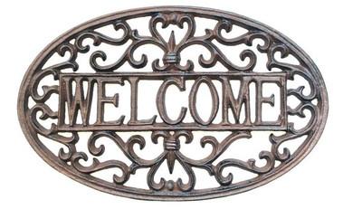 "Cast iron Decorative welcome plaque 14""x0.3""x8.5""H (min 2)"