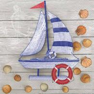 "Lunch Napkins - Sailboat & Shells 6.5""x6.5"""