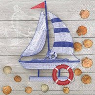 "Lunch Napkins - Sailboat & Shells 6.5""x6.5"""