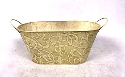 "Oval Swirls in taupe metal container with handles 15""x7""x5.25""H"