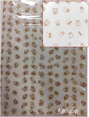"20""x30"" - Clear Cellophane bags with Presents/Gifts print - 25 micron (1.0 mil) 100 bags/bundle"