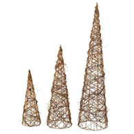 "Set of 3 Vine cone shaped decorative trees   S:6""Dx20""H, M:8""Dx25""H, L:10""Dx28""H"