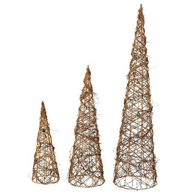 "Set of 3 Vine cones  S:6""Dx20""H, M:8""Dx25""H, L:10""Dx28""H"