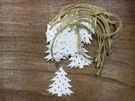 "Bundle of white wooden hanging trees  2.4"" (12 trees/bundle)"