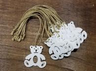 "White wooden hanging Bears 2.4"" (12 trees/bundle)"