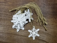 "Bundle of white wooden hanging Snowflakes 2.4"" (12 trees/bundle)"