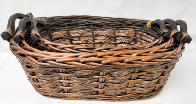 "Set of 3 Willow & Seagrass baskets with wooden handles  S: 16.25""x8.5""x5.5""H,  M:18.5""x11.5""x6""H  L: 21.25""x13""x7""H"