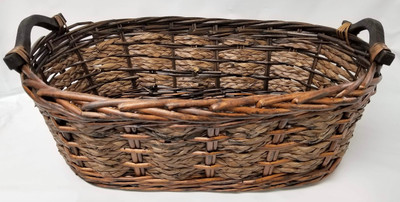 """Smallest in Set of 3 Willow & Seagrass baskets with wooden handles S: 16.25""""x8.5""""x5.5""""H"""