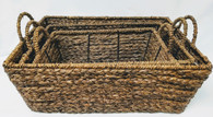 "Set of 3 Rectangular Hyacinth & Seagrass baskets  S: 12.75""x8.25""x4.5""H,  M: 15""x10""x5.5""  L: 17.75""x12x6.25""H"